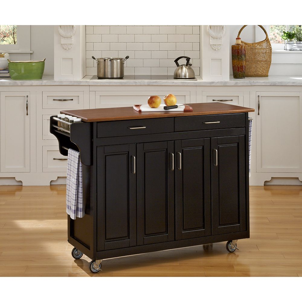 Home Styles Create-a-Cart Black Finish with Oak Top