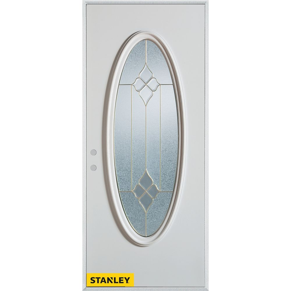 STANLEY Doors 33.375 inch x 82.375 inch Beatrice Brass Full Oval Lite Prefinished White Right-Hand Inswing Steel Prehung Front Door - ENERGY STAR®