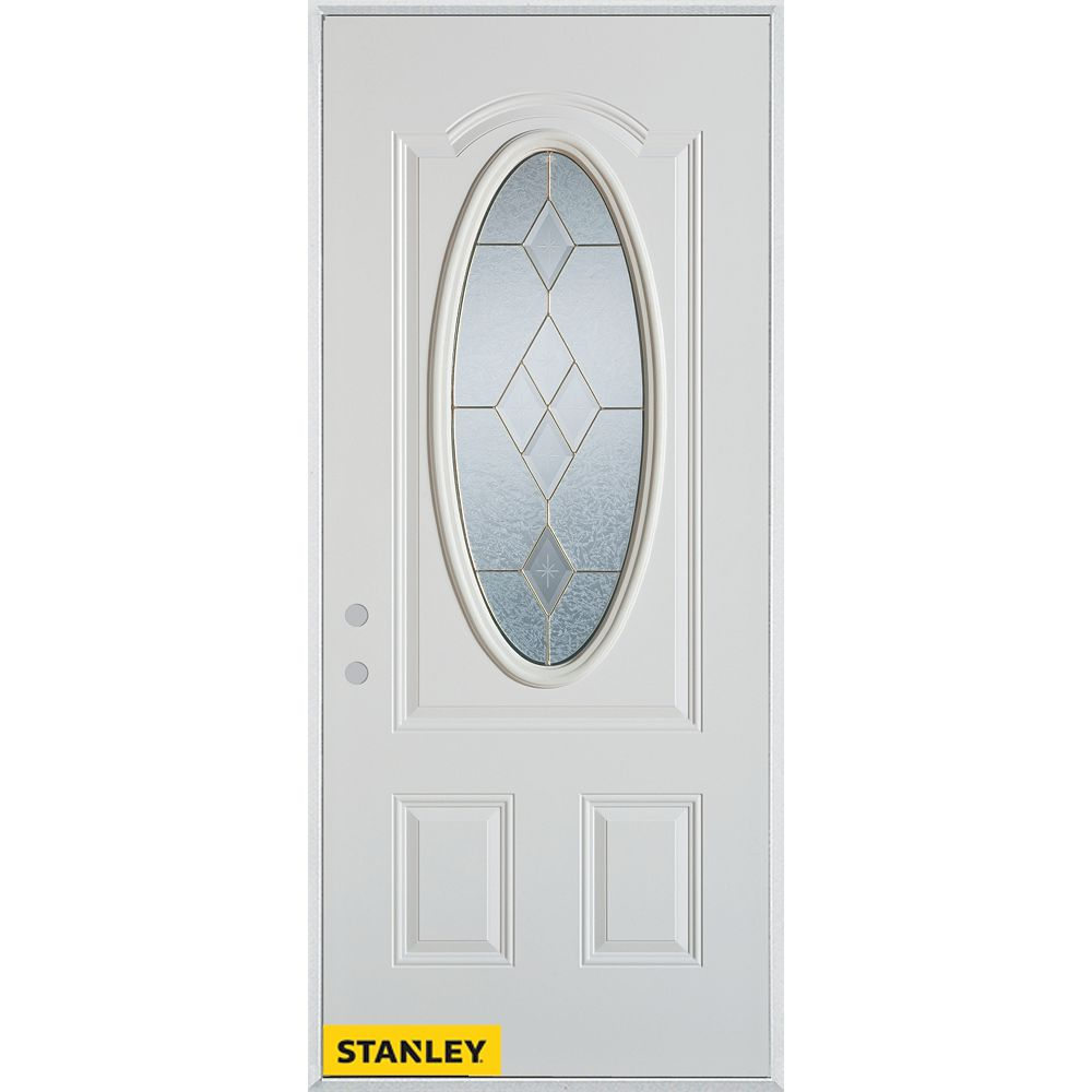 STANLEY Doors 33.375 inch x 82.375 inch Tulip Brass 3/4 Oval Lite 2-Panel Prefinished White Right-Hand Inswing Steel Prehung Front Door - ENERGY STAR®