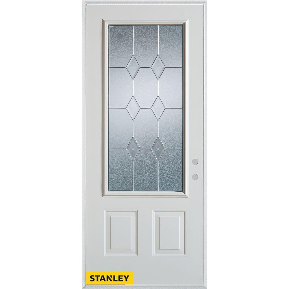 STANLEY Doors 35.375 inch x 82.375 inch Tulip Patina 3/4 Lite 2-Panel Prefinished White Left-Hand Inswing Steel Prehung Front Door - ENERGY STAR®