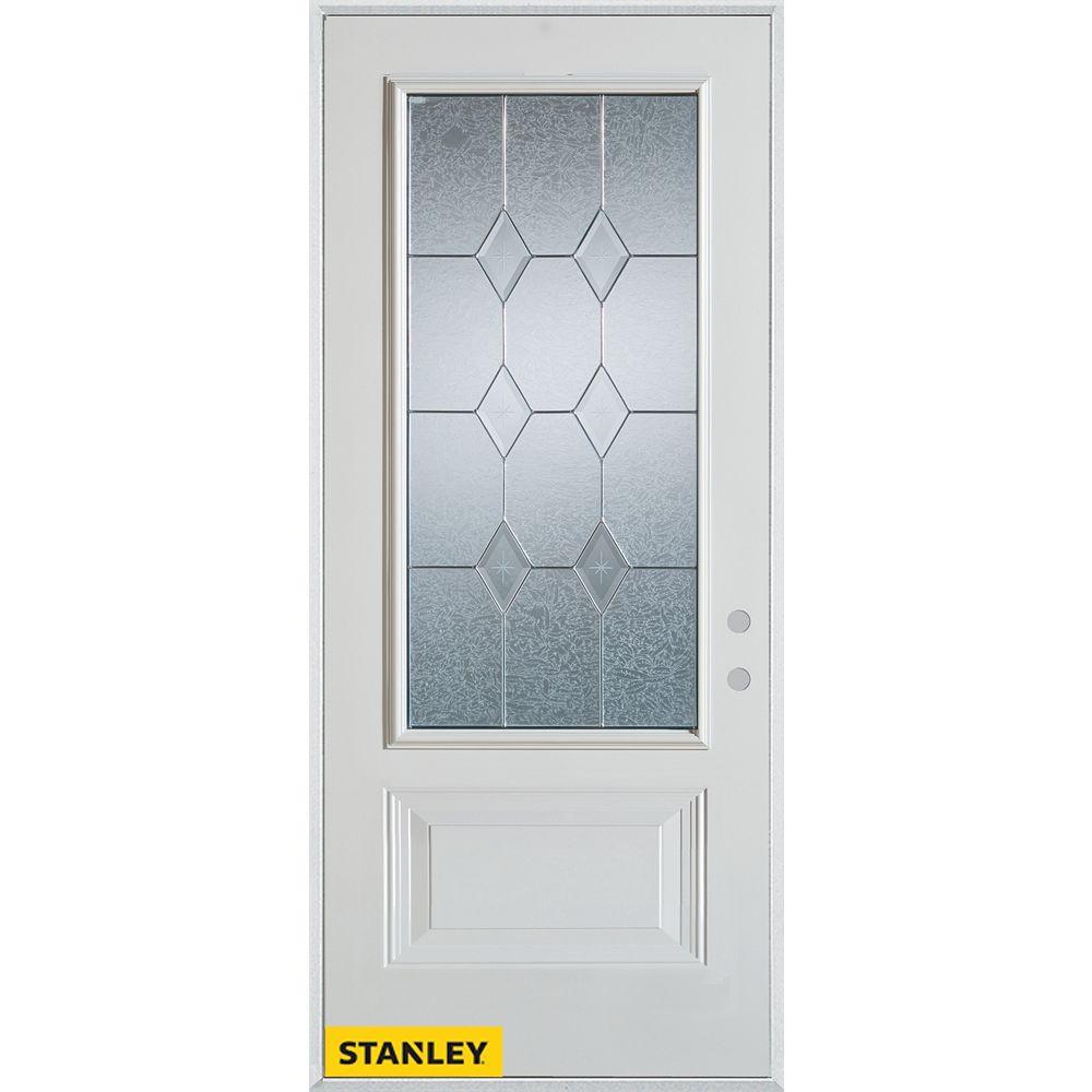 STANLEY Doors 35.375 inch x 82.375 inch Tulip Patina 3/4 Lite 1-Panel Prefinished White Left-Hand Inswing Steel Prehung Front Door - ENERGY STAR®