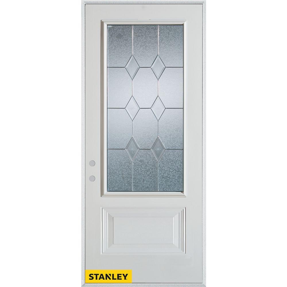 STANLEY Doors 35.375 inch x 82.375 inch Tulip Brass 3/4 Lite 1-Panel Prefinished White Right-Hand Inswing Steel Prehung Front Door - ENERGY STAR®
