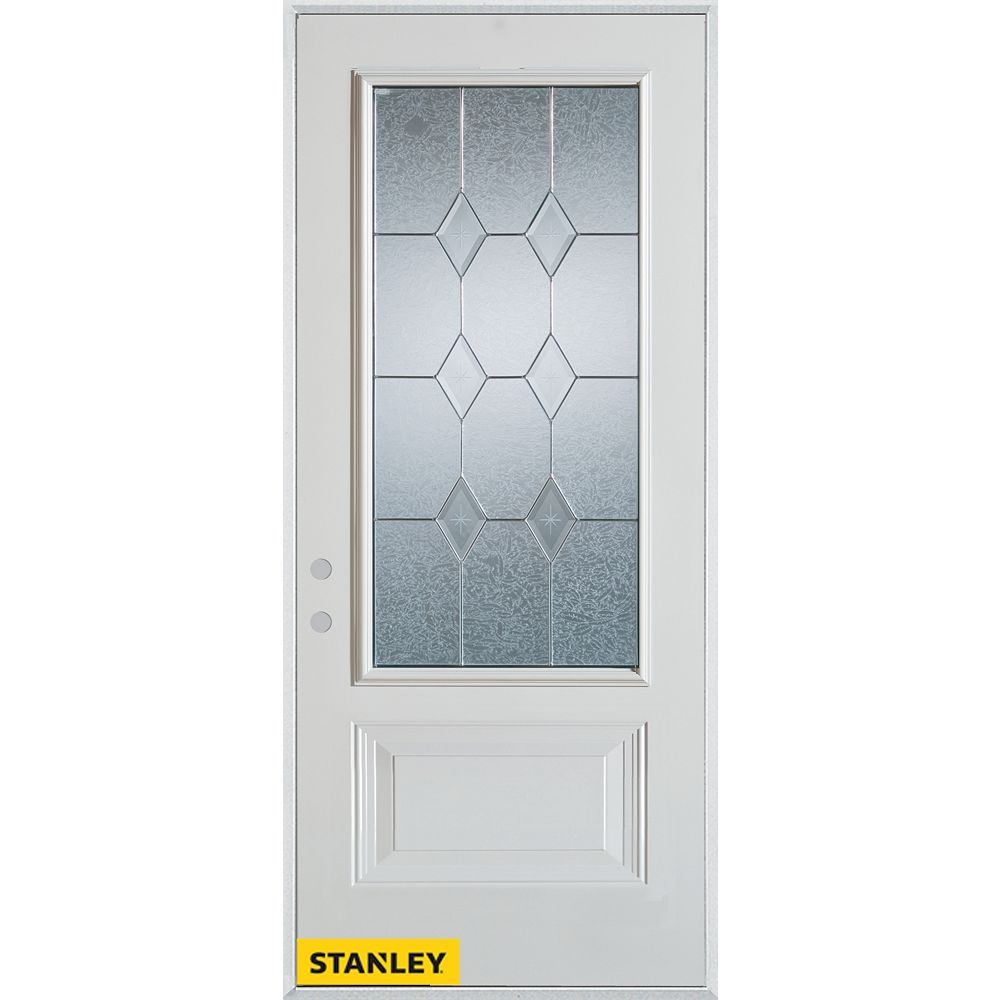 STANLEY Doors 35.375 inch x 82.375 inch Tulip Patina 3/4 Lite 1-Panel Prefinished White Right-Hand Inswing Steel Prehung Front Door - ENERGY STAR®