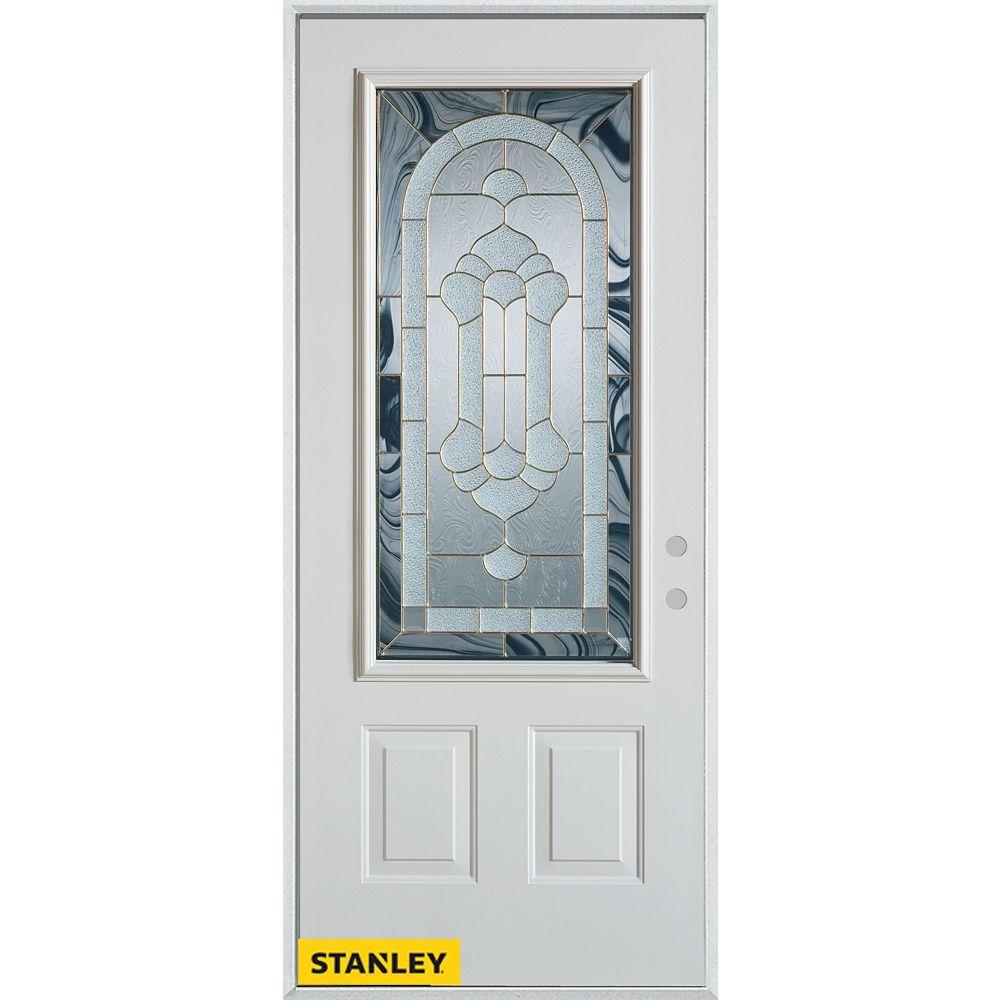 STANLEY Doors Porte dentrée en acier préfini blanc, munie de deux panneaux et dun 3/4 verre, en 36 po x 80 po - Gauche