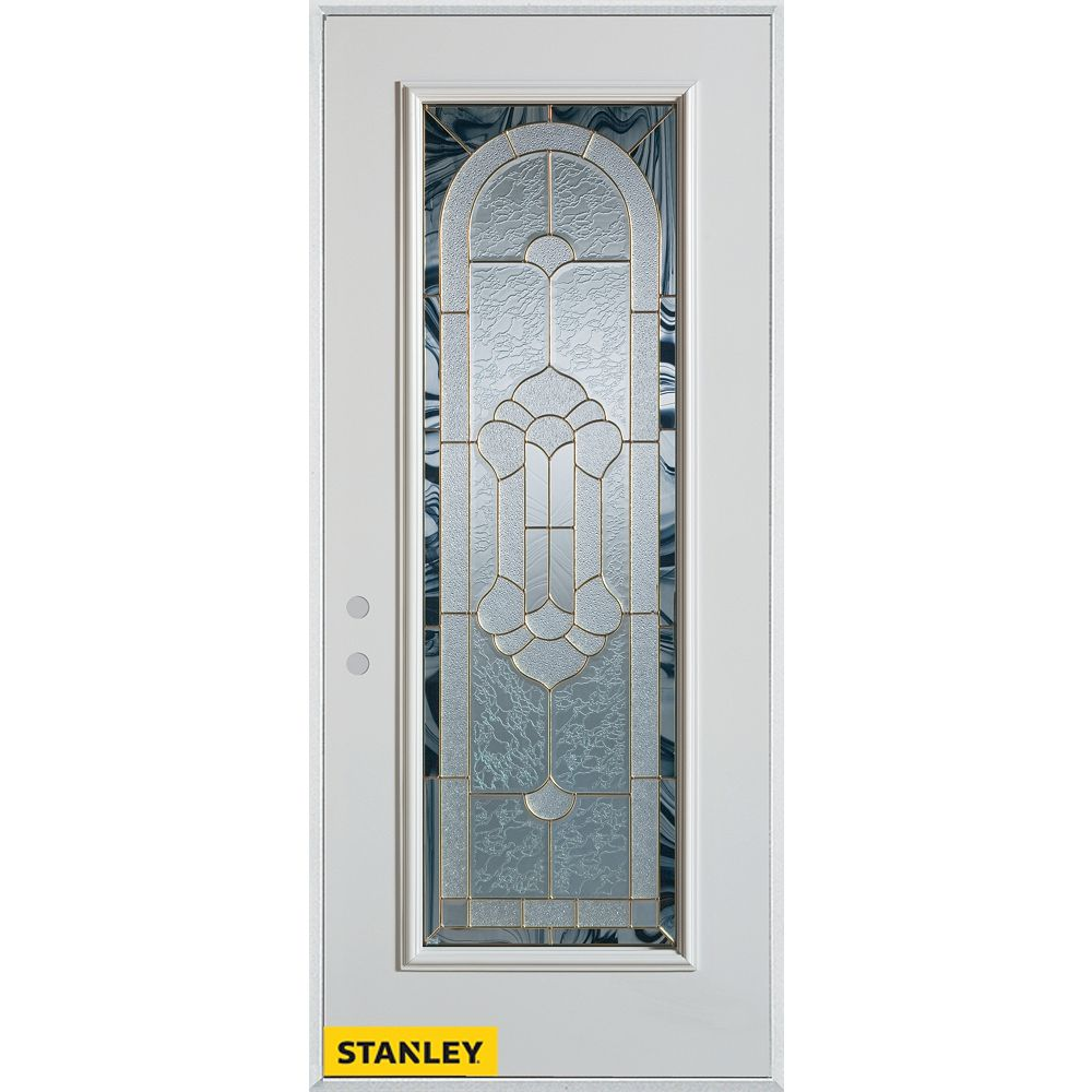 STANLEY Doors 35.375 inch x 82.375 inch Radiance Brass Full Lite Prefinished White Right-Hand Inswing Steel Prehung Front Door - ENERGY STAR®