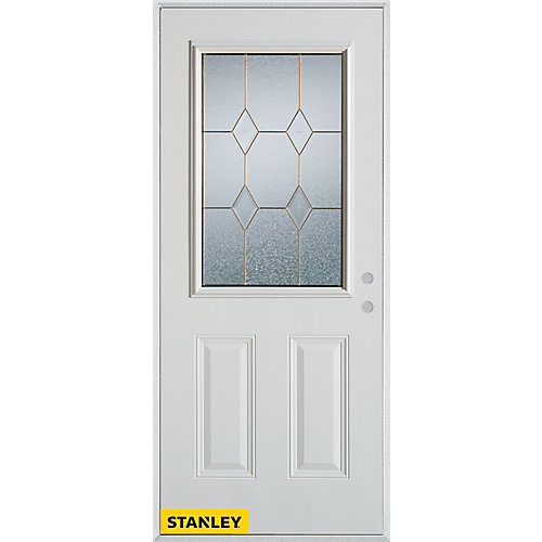 33.375 inch x 82.375 inch Tulip Brass 1/2 Lite 2-Panel Prefinished White Left-Hand Inswing Steel Prehung Front Door - ENERGY STAR®