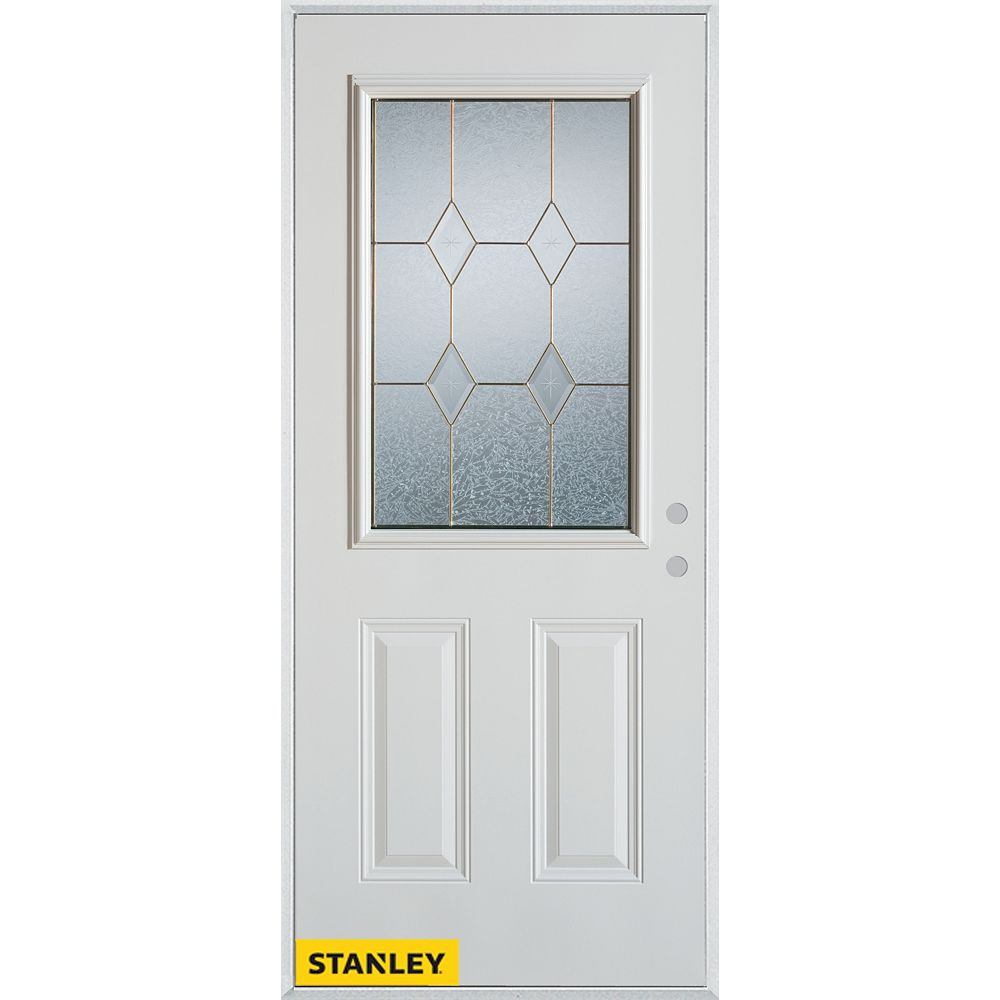 STANLEY Doors 35.375 inch x 82.375 inch Tulip Zinc 1/2 Lite 2-Panel Prefinished White Left-Hand Inswing Steel Prehung Front Door - ENERGY STAR®