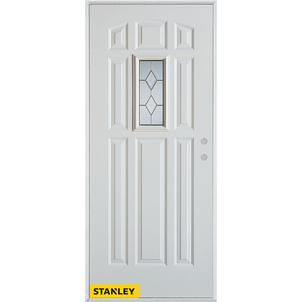 STANLEY Doors Porte dentrée en acier préfini blanc, munie de 9 panneaux et un verre rectangulaire zinc, 32 po x 80 po - Gauche - ENERGY STAR®