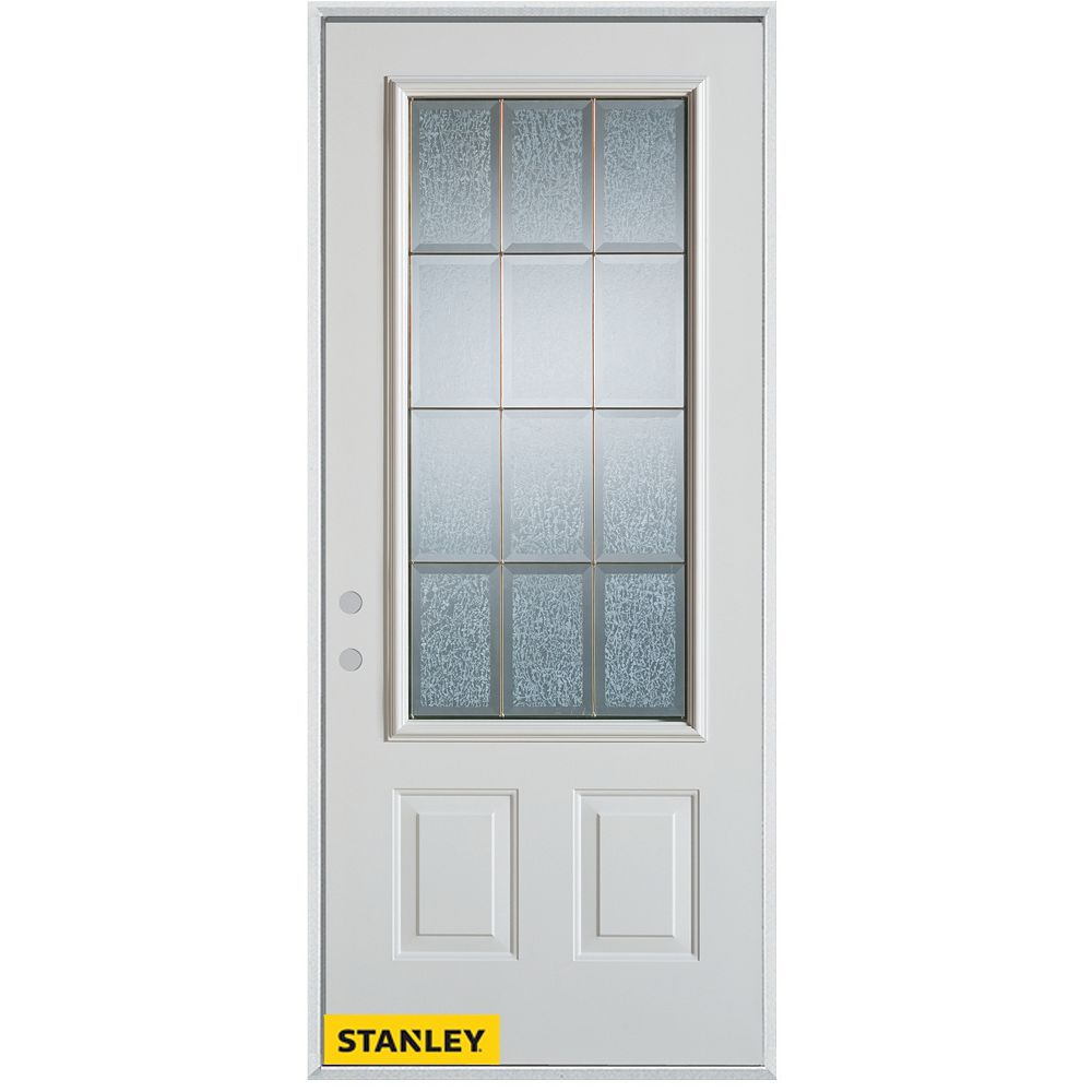 STANLEY Doors 33.375 inch x 82.375 inch Diana Brass 3/4 Lite 2-Panel Prefinished White Right-Hand Inswing Steel Prehung Front Door - ENERGY STAR®
