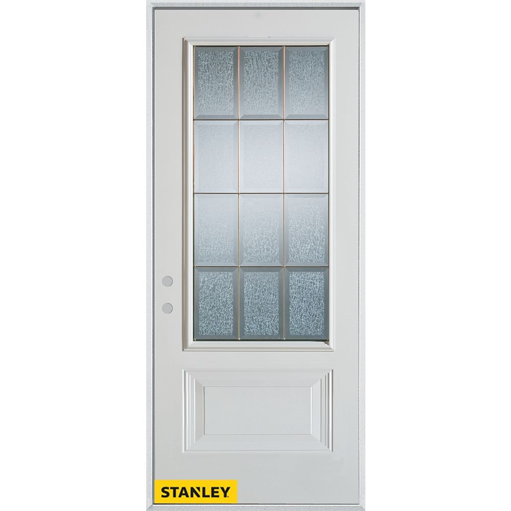STANLEY Doors 33.375 inch x 82.375 inch Diana Brass 3/4 Lite 1-Panel Prefinished White Right-Hand Inswing Steel Prehung Front Door - ENERGY STAR®