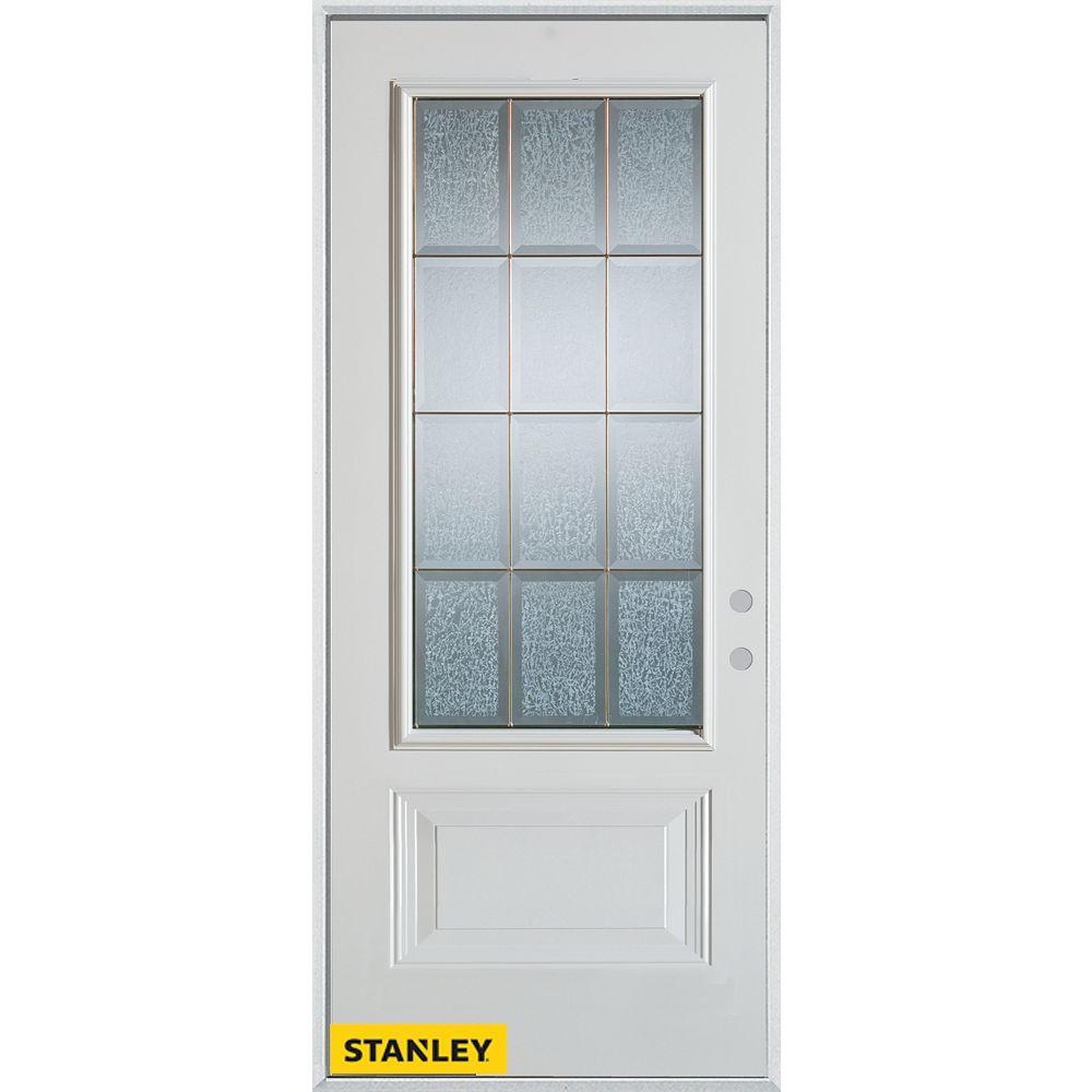 STANLEY Doors 35.375 inch x 82.375 inch Diana Zinc 3/4 Lite 1-Panel Prefinished White Left-Hand Inswing Steel Prehung Front Door - ENERGY STAR®