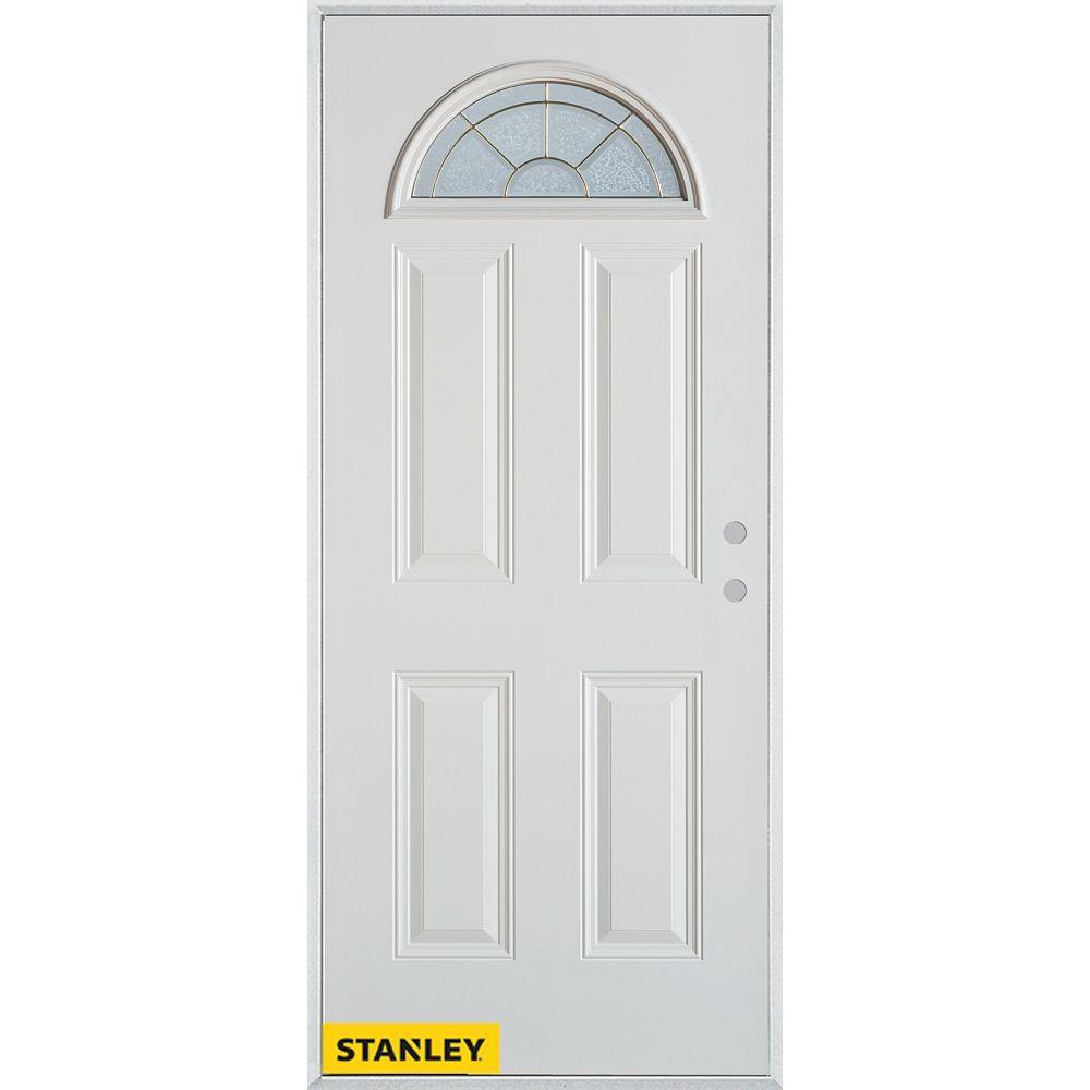 STANLEY Doors 35.375 inch x 82.375 inch Elisabeth Brass Fan Lite 4-Panel Prefinished White Left-Hand Inswing Steel Prehung Front Door - ENERGY STAR®