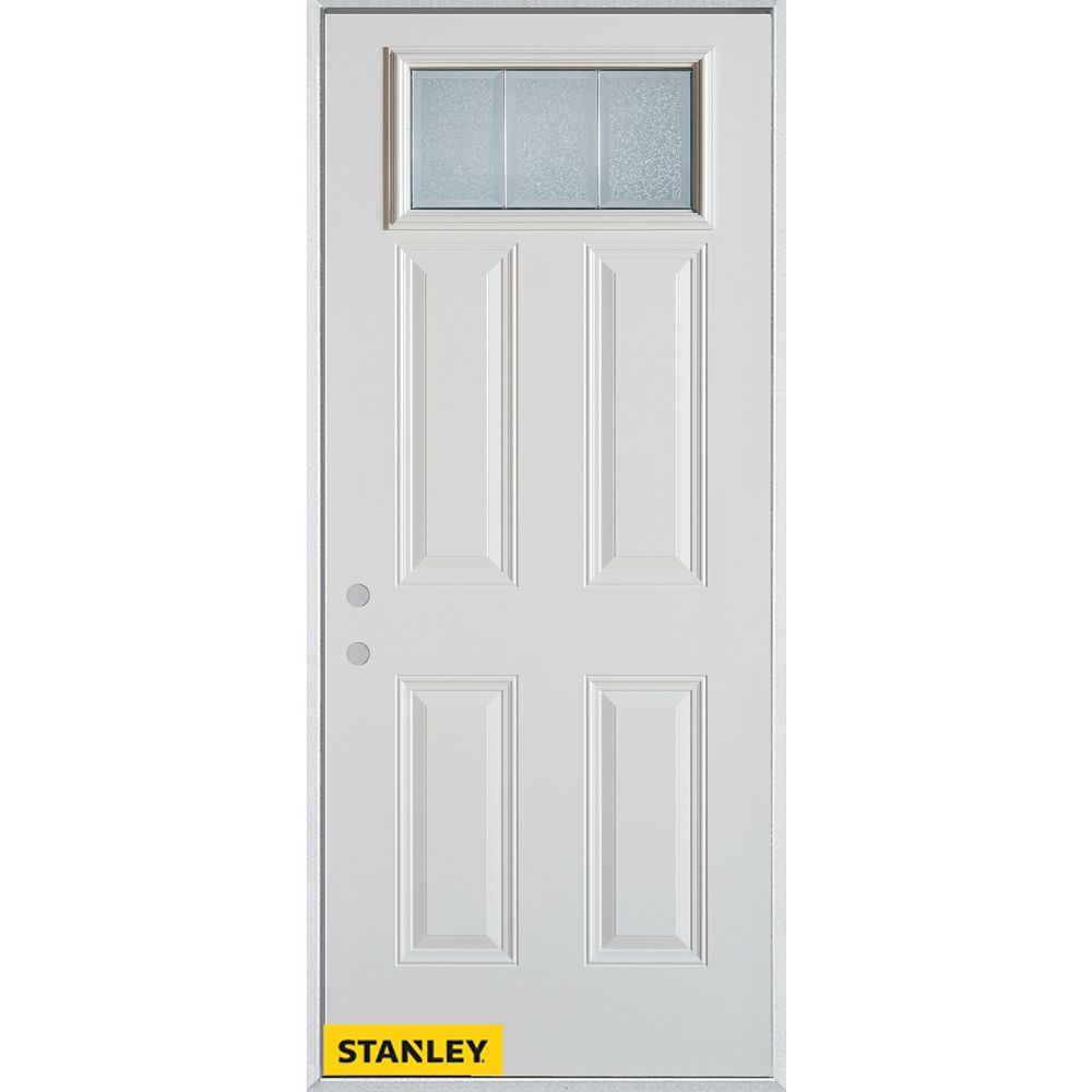 STANLEY Doors 33.375 inch x 82.375 inch Diana Zinc Rectangular Lite 4-Panel Prefinished White Right-Hand Inswing Steel Prehung Front Door - ENERGY STAR®