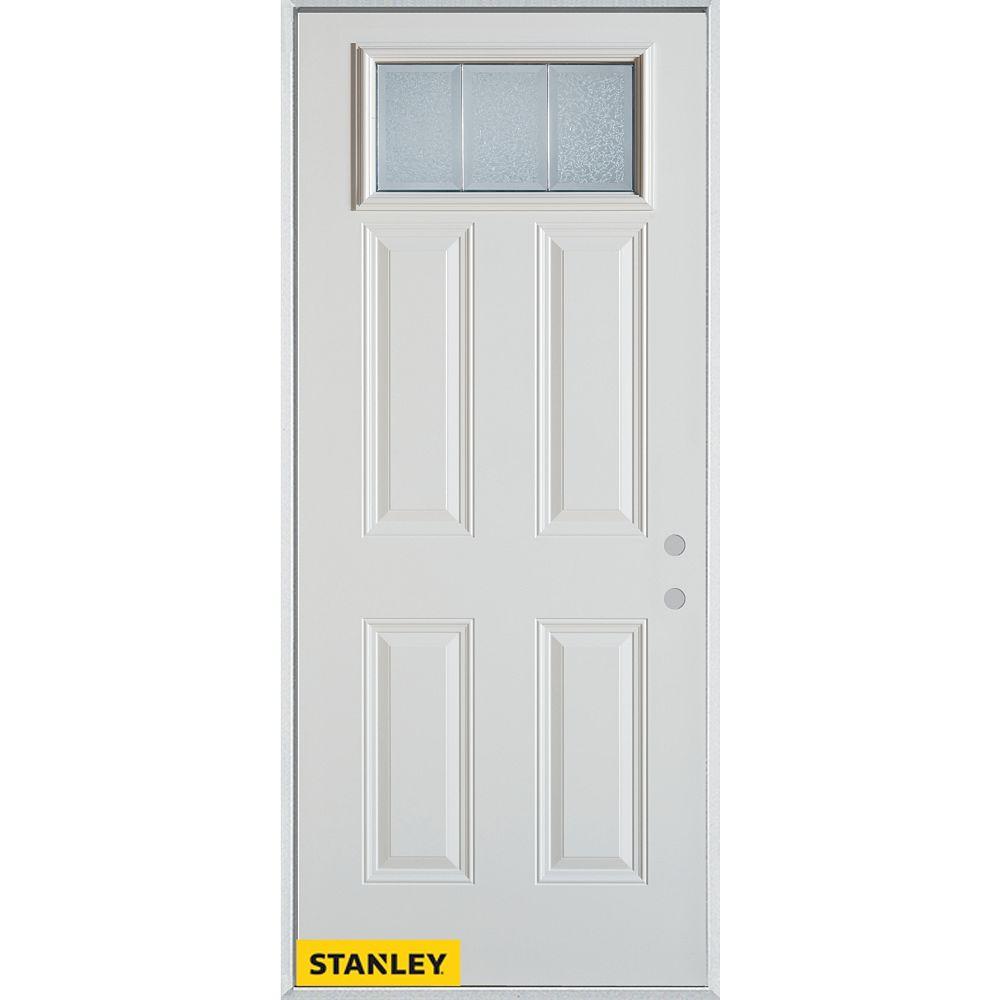 STANLEY Doors 37.375 inch x 82.375 inch Diana Zinc Rectangular Lite 4-Panel Prefinished White Left-Hand Inswing Steel Prehung Front Door - ENERGY STAR®