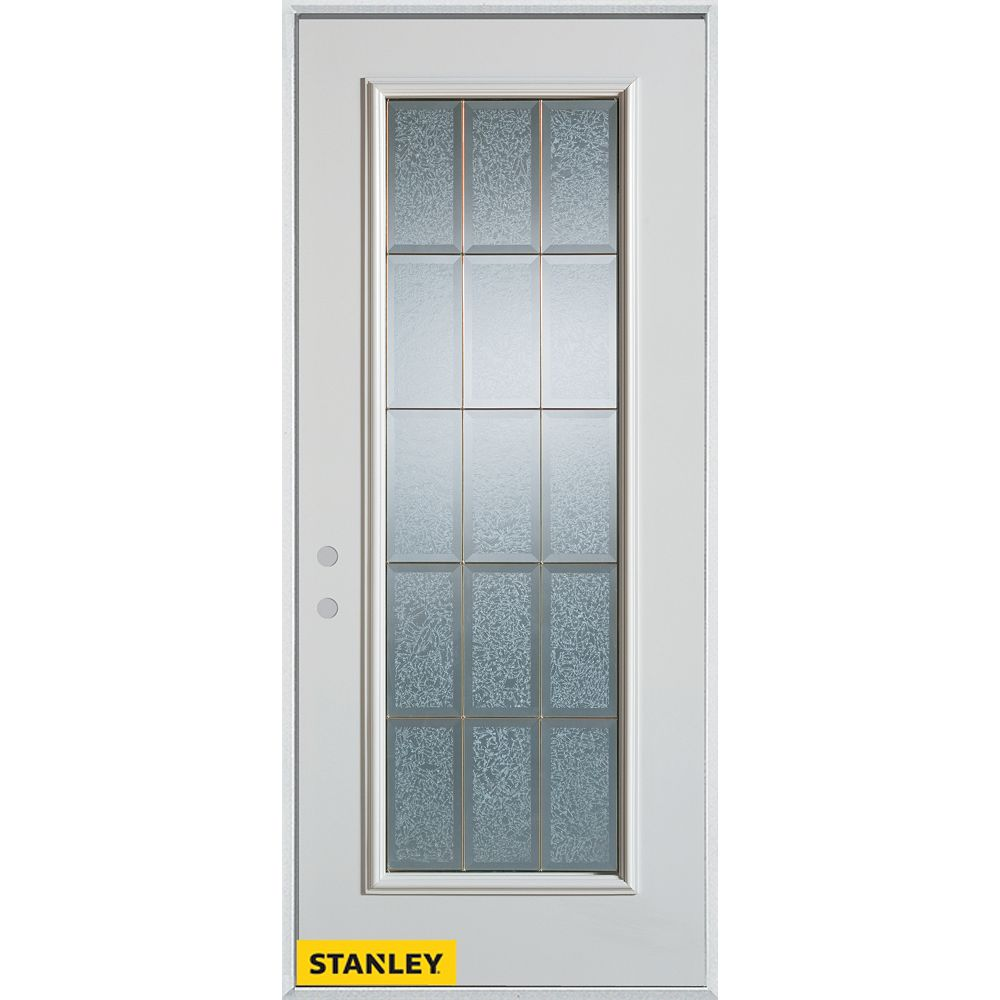 STANLEY Doors 33.375 inch x 82.375 inch Diana Brass Full Lite Prefinished White Right-Hand Inswing Steel Prehung Front Door - ENERGY STAR®