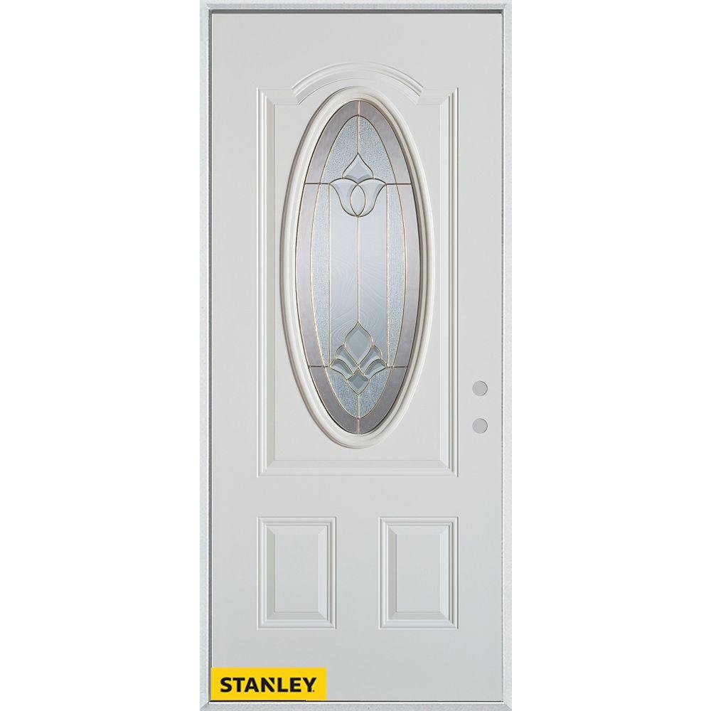 STANLEY Doors Porte dentrée en acier préfini blanc, munie dun 3/4 verre ovale, 34 po x 80 po - Gauche - ENERGY STAR®
