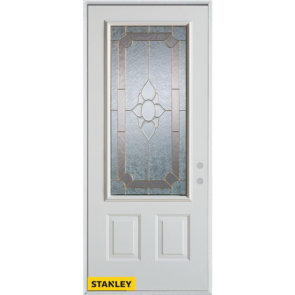 STANLEY Doors Porte dentrée en acier préfini blanc, munie de deux panneaux et dun 3/4 verre, en 36 po x 80 po - Gauche - ENERGY STAR®
