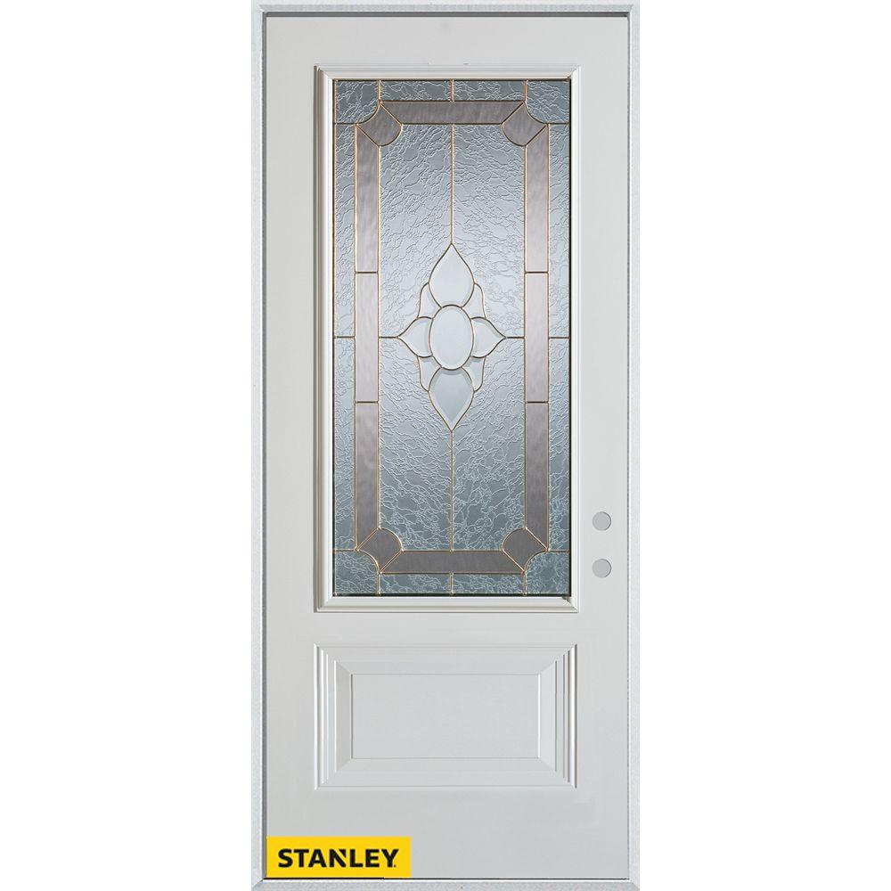 STANLEY Doors 33.375 inch x 82.375 inch Rochelle Brass 3/4 Lite 1-Panel Prefinished White Left-Hand Inswing Steel Prehung Front Door - ENERGY STAR®