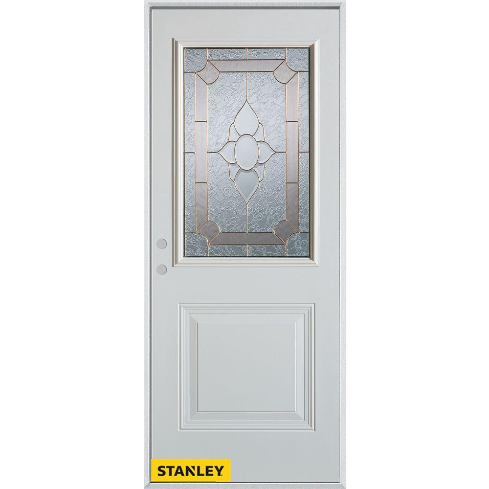 STANLEY Doors 37.375 inch x 82.375 inch Rochelle Brass 1/2 Lite 1-Panel Prefinished White Right-Hand Inswing Steel Prehung Front Door - ENERGY STAR®