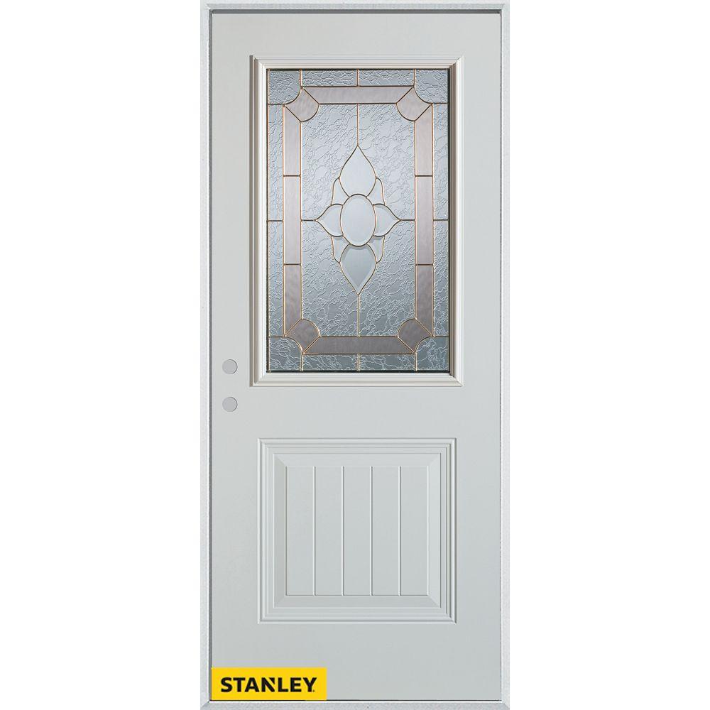 STANLEY Doors Porte dentrée en acier préfini blanc, munie d'un panneau et dun 1/2 verre, 32 po x 80 po - Droite - ENERGY STAR®