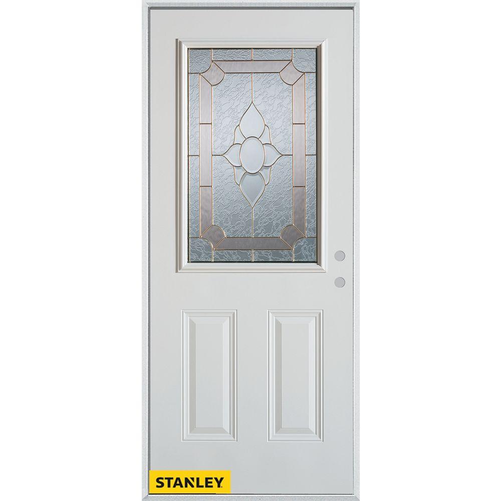 STANLEY Doors 33.375 inch x 82.375 inch Rochelle Brass 1/2 Lite 2-Panel Prefinished White Left-Hand Inswing Steel Prehung Front Door - ENERGY STAR®