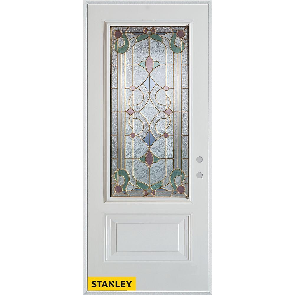 STANLEY Doors Porte dentrée en acier préfini blanc, munie d'un panneau et dun 3/4 verre, 32 po x 80 po - Gauche - ENERGY STAR®