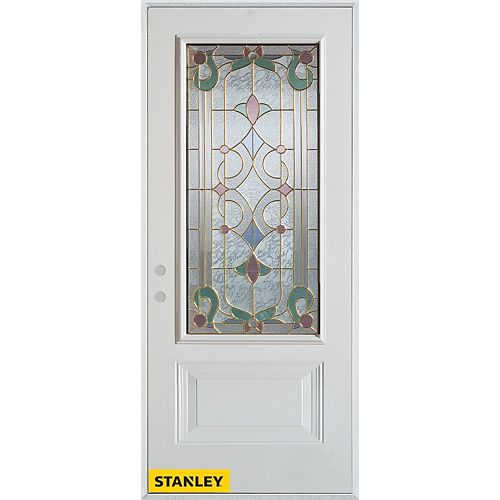 33.375 inch x 82.375 inch Aristocrat Patina 3/4 Lite 1-Panel Prefinished White Right-Hand Inswing Steel Prehung Front Door - ENERGY STAR®