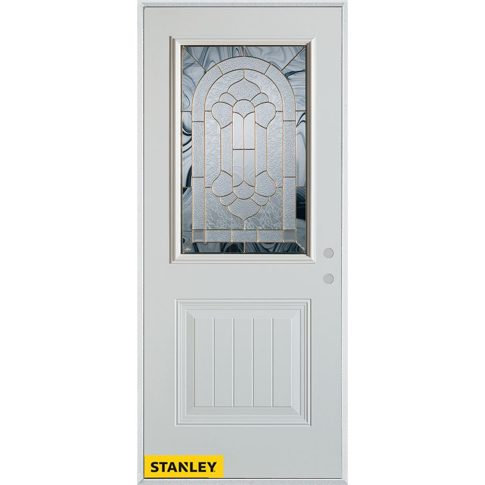 STANLEY Doors 37.375 inch x 82.375 inch Radiance Brass 1/2 Lite 1-Panel Prefinished White Left-Hand Inswing Steel Prehung Front Door - ENERGY STAR®