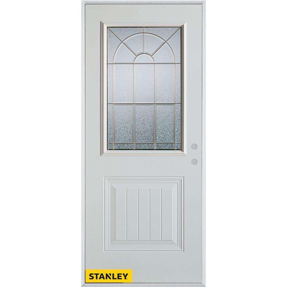 STANLEY Doors Porte dentrée en acier préfini blanc, munie d'un panneau et dun 1/2 verre zinc, 34 po x 80 po - Gauche - ENERGY STAR®