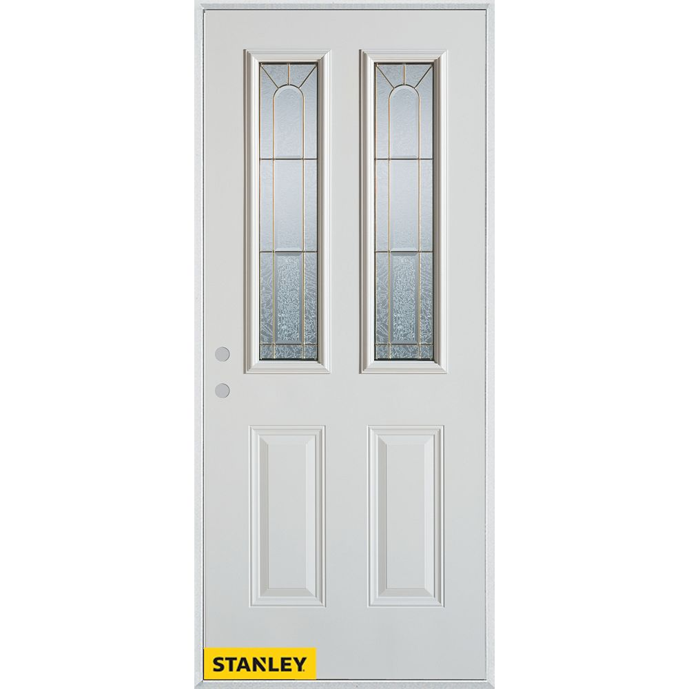 STANLEY Doors 33.375 inch x 82.375 inch Elisabeth Brass 2-Lite 2-Panel Prefinished White Right-Hand Inswing Steel Prehung Front Door - ENERGY STAR®