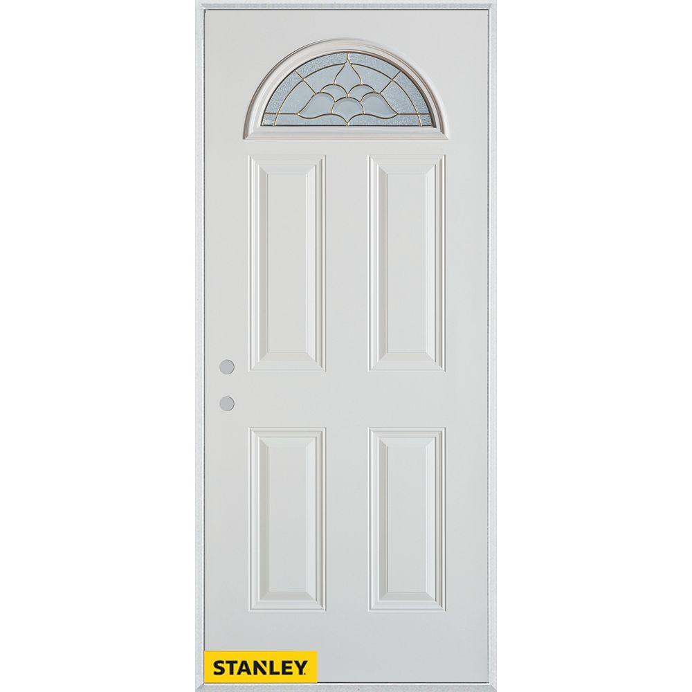 STANLEY Doors Porte dentrée en acier préfini blanc, munie de 4 panneaux et d'un verre en évantail, 32 po x 80 po - Droite - ENERGY STAR®