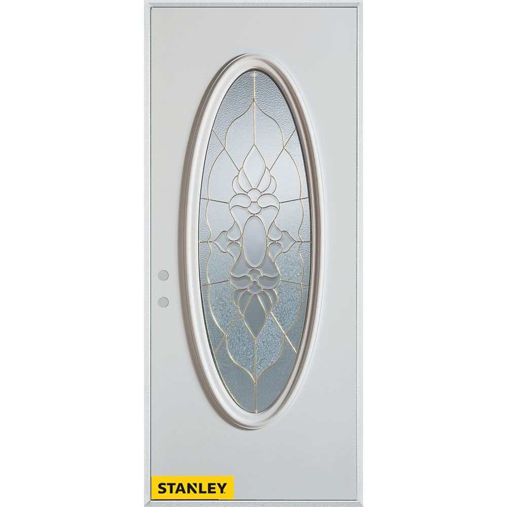 STANLEY Doors 35.375 inch x 82.375 inch Victoria Patina Full Oval Lite Prefinished White Right-Hand Inswing Steel Prehung Front Door - ENERGY STAR®