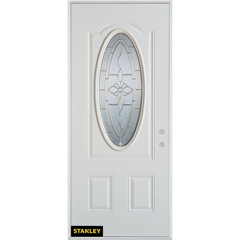STANLEY Doors Porte dentrée en acier préfini blanc, munie dun 3/4 verre patina ovale, 32 po x 80 po - Gauche - ENERGY STAR®