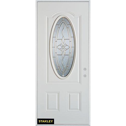 33.375 inch x 82.375 inch Trellis Zinc 3/4 Oval Lite 2-Panel Prefinished White Left-Hand Inswing Steel Prehung Front Door