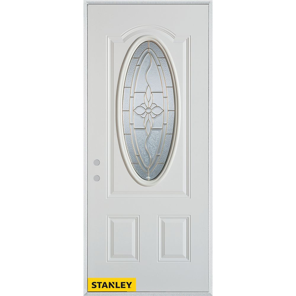 STANLEY Doors 37.375 inch x 82.375 inch Trellis Patina 3/4 Oval Lite 2-Panel Prefinished White Right-Hand Inswing Steel Prehung Front Door - ENERGY STAR®