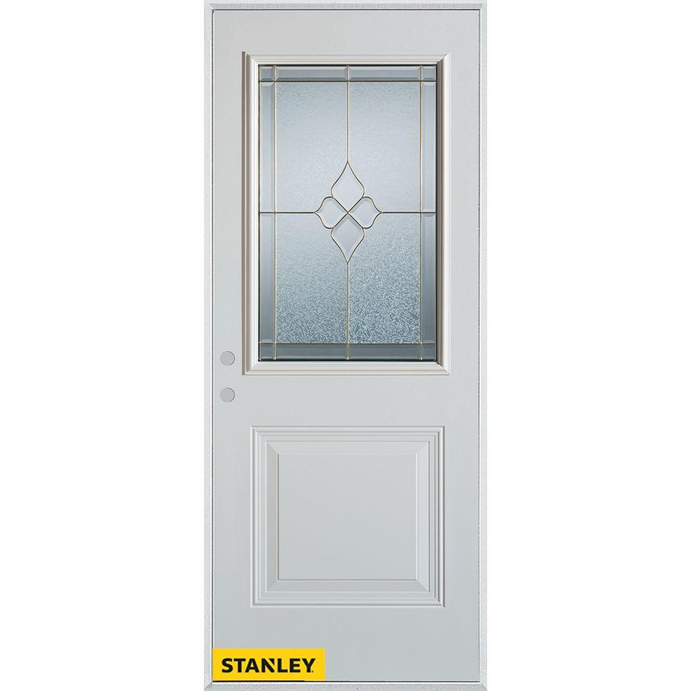 STANLEY Doors 35.375 inch x 82.375 inch Beatrice Zinc 1/2 Lite 1-Panel Prefinished White Right-Hand Inswing Steel Prehung Front Door - ENERGY STAR®