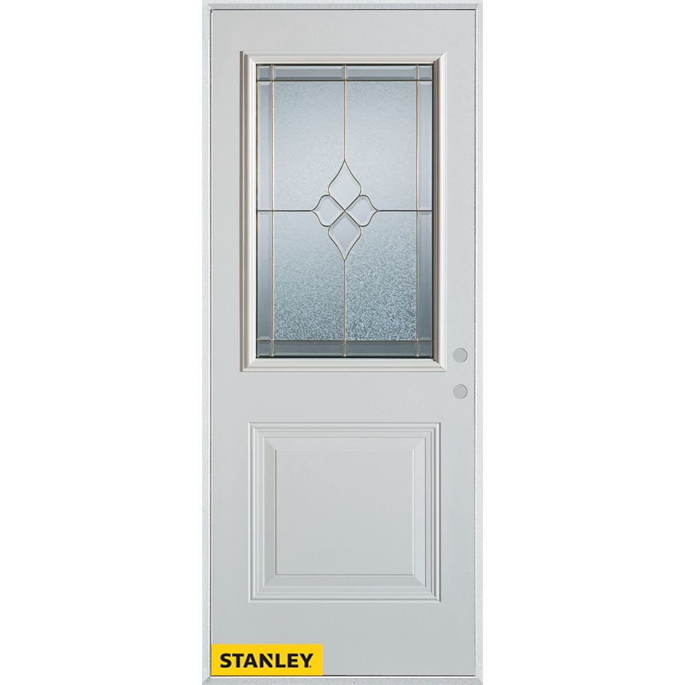 STANLEY Doors 37.375 inch x 82.375 inch Beatrice Brass 1/2 Lite 1-Panel Prefinished White Left-Hand Inswing Steel Prehung Front Door - ENERGY STAR®