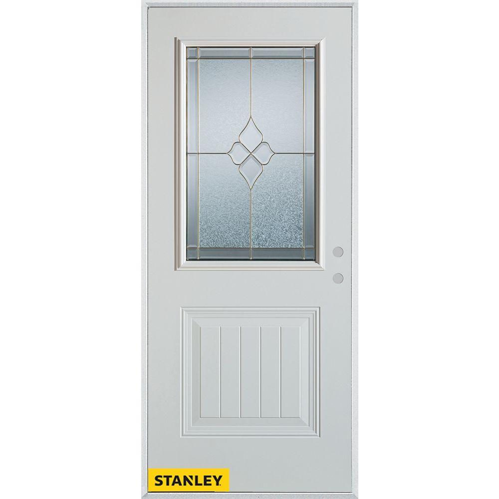 STANLEY Doors 33.375 inch x 82.375 inch Beatrice Brass 1/2 Lite 1-Panel Prefinished White Left-Hand Inswing Steel Prehung Front Door - ENERGY STAR®