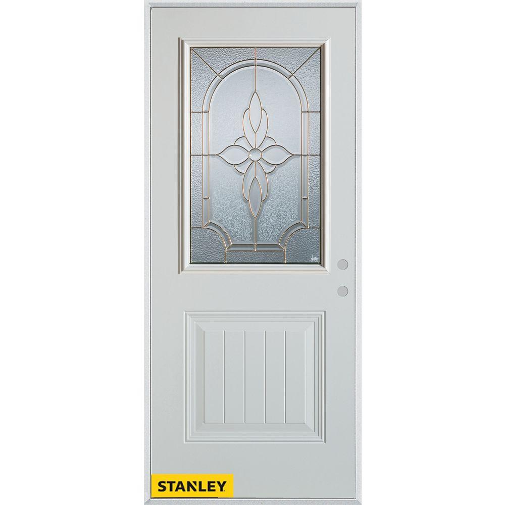 STANLEY Doors Porte dentrée en acier préfini blanc, munie d'un panneau et dun 1/2 verre, 34 po x 80 po - Gauche - ENERGY STAR®