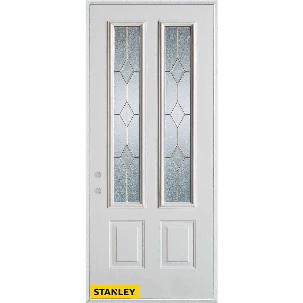 STANLEY Doors Porte dentrée en acier préfini blanc, munie de deux panneaux et deux verres zinc, 36 po x 80 po - Droite - ENERGY STAR®