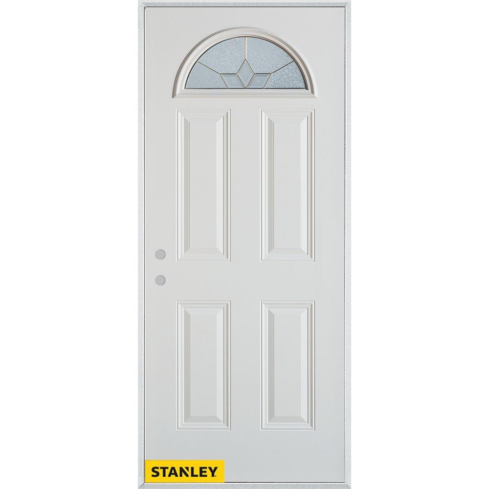 STANLEY Doors 33.375 inch x 82.375 inch Tulip Brass Fan Lite 4-Panel Prefinished White Right-Hand Inswing Steel Prehung Front Door - ENERGY STAR®