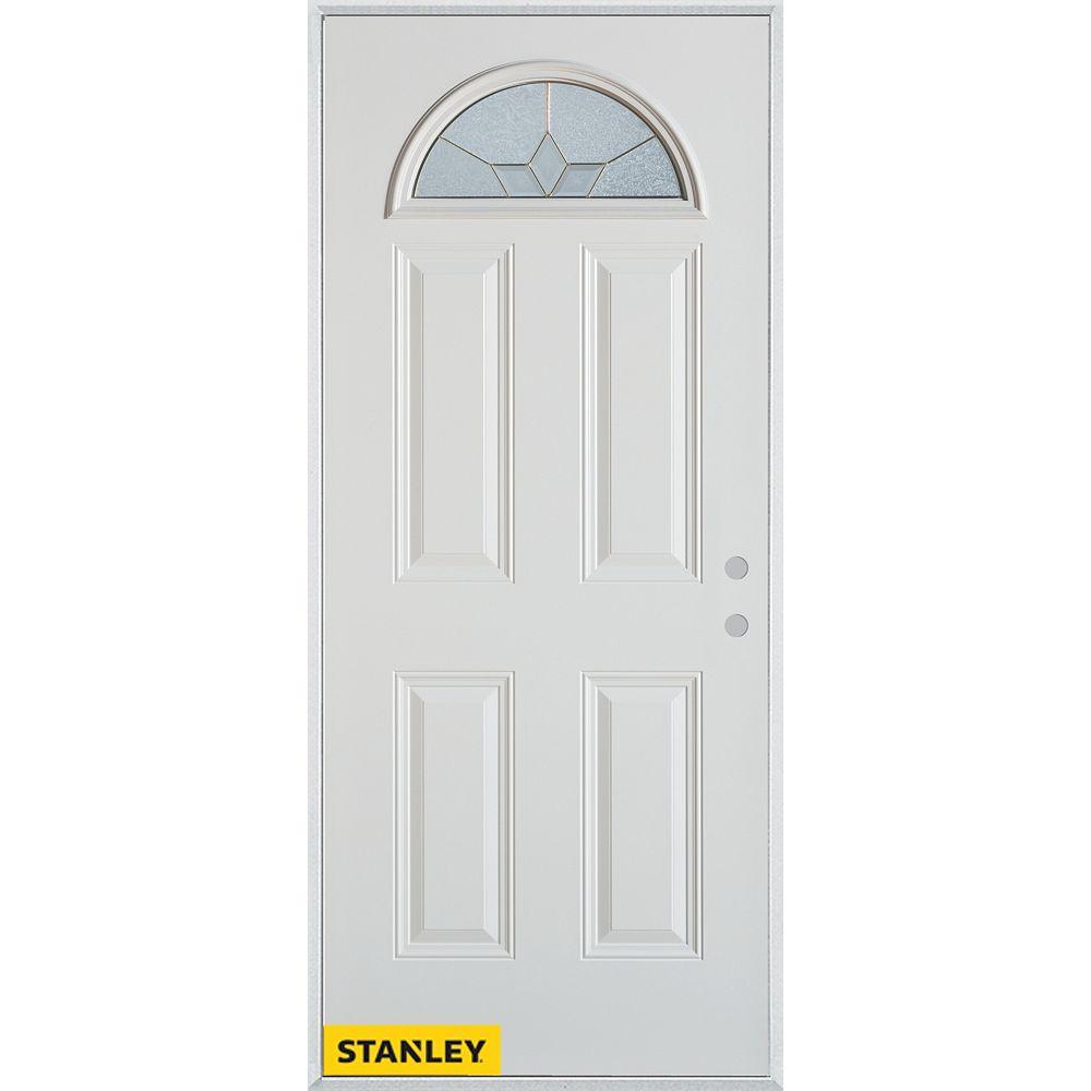 STANLEY Doors 35.375 inch x 82.375 inch Tulip Zinc Fan Lite 4-Panel Prefinished White Left-Hand Inswing Steel Prehung Front Door - ENERGY STAR®