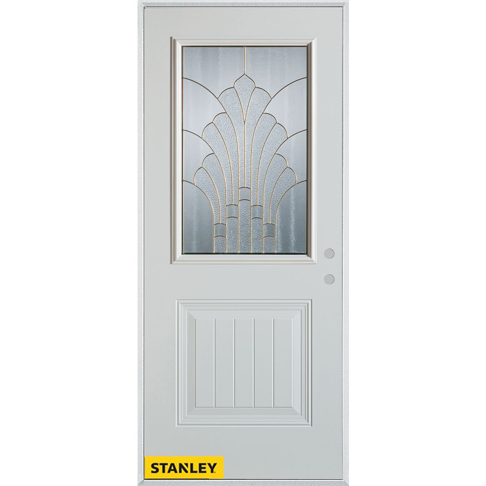 STANLEY Doors 35.375 inch x 82.375 inch Gladis Patina 1/2 Lite 1-Panel Prefinished White Left-Hand Inswing Steel Prehung Front Door - ENERGY STAR®
