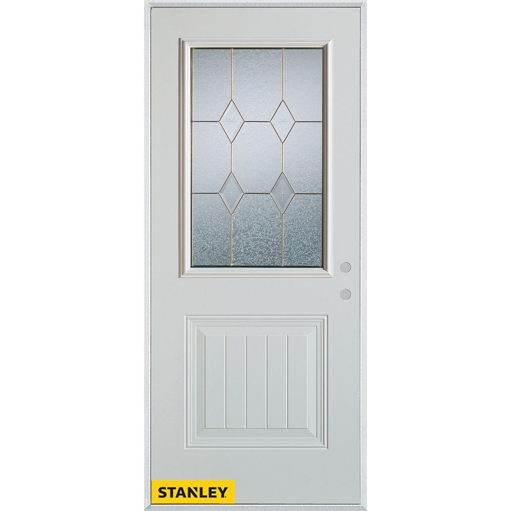 STANLEY Doors 33.375 inch x 82.375 inch Tulip Patina 1/2 Lite 1-Panel Prefinished White Left-Hand Inswing Steel Prehung Front Door - ENERGY STAR®