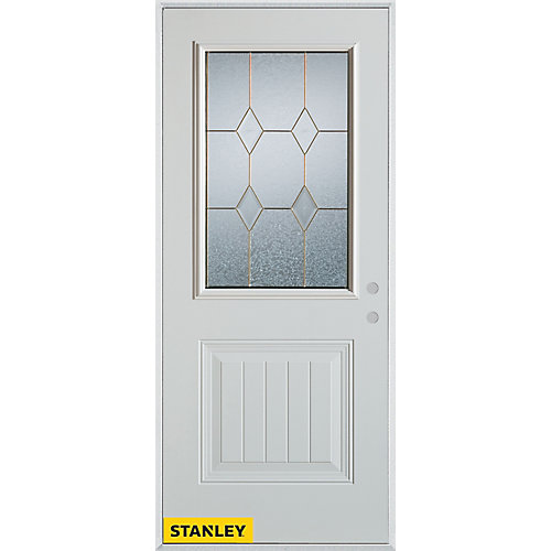 33.375 inch x 82.375 inch Tulip Zinc 1/2 Lite 1-Panel Prefinished White Left-Hand Inswing Steel Prehung Front Door - ENERGY STAR®
