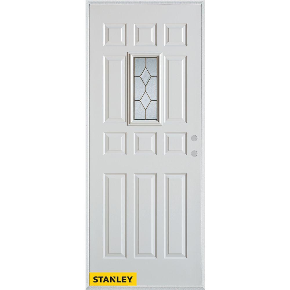 STANLEY Doors 37.375 inch x 82.375 inch Tulip Brass Rectangular Lite 12-Panel Prefinished White Left-Hand Inswing Steel Prehung Front Door - ENERGY STAR®