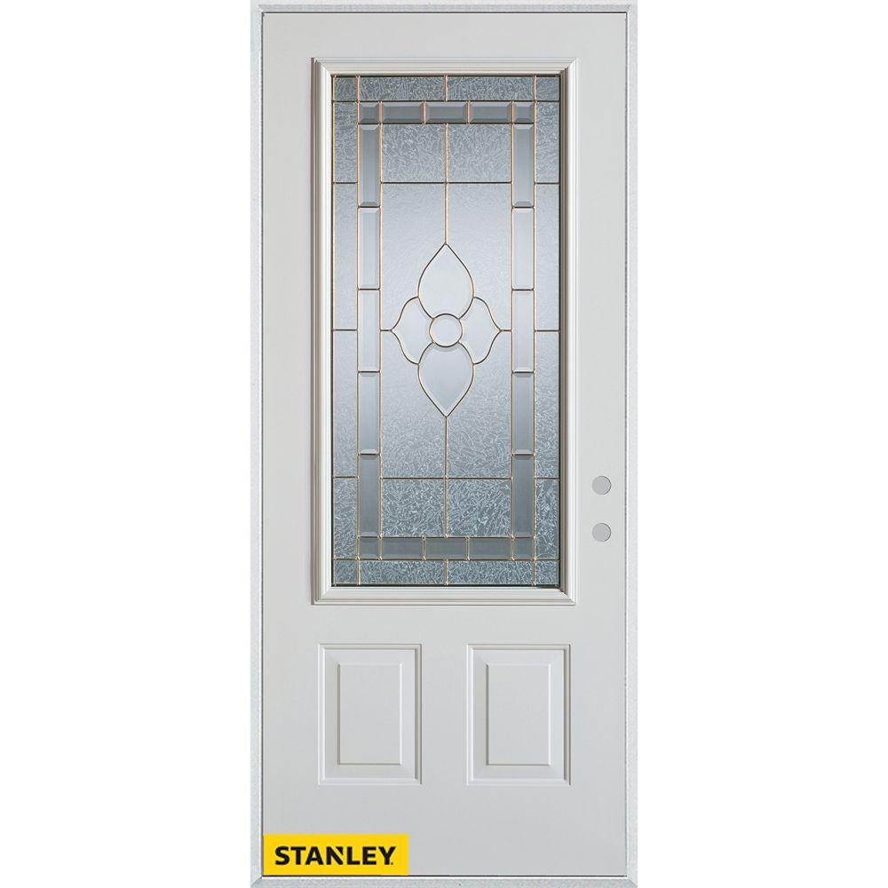 STANLEY Doors 33.375 inch x 82.375 inch Marguerite Brass 3/4 Lite 2-Panel Prefinished White Left-Hand Inswing Steel Prehung Front Door - ENERGY STAR®