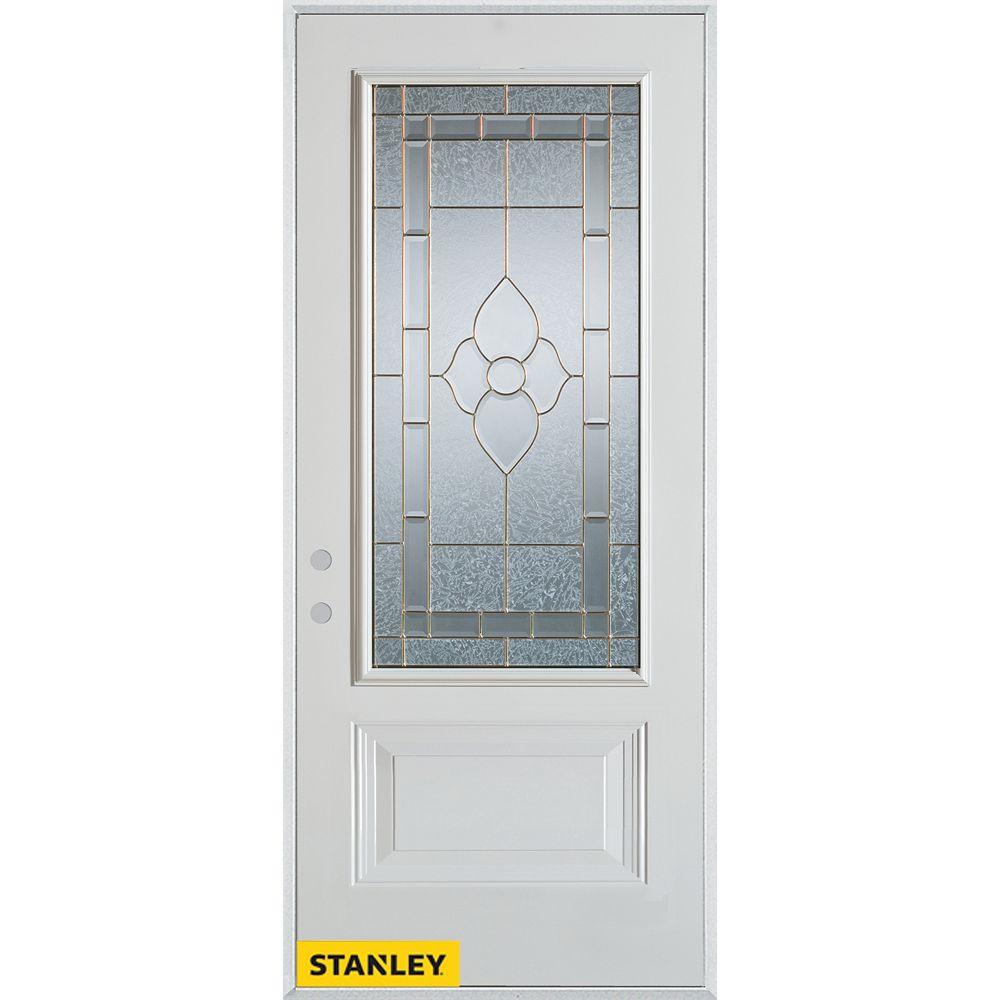STANLEY Doors 37.375 inch x 82.375 inch Marguerite Zinc 3/4 Lite 1-Panel Prefinished White Right-Hand Inswing Steel Prehung Front Door - ENERGY STAR®