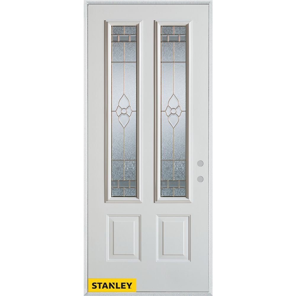 STANLEY Doors 33.375 inch x 82.375 inch Marguerite Brass 2-Lite 2-Panel Prefinished White Left-Hand Inswing Steel Prehung Front Door - ENERGY STAR®