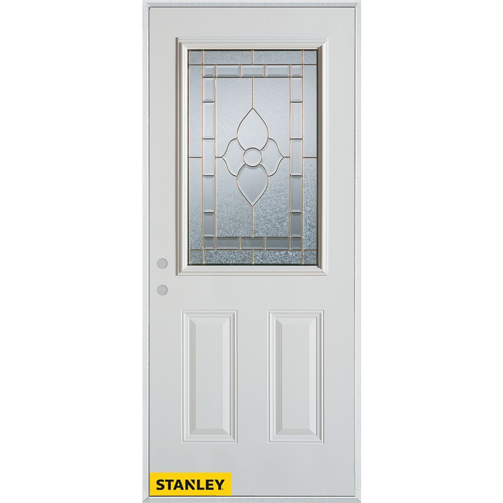 STANLEY Doors 37.375 inch x 82.375 inch Marguerite Patina 1/2 Lite 2-Panel Prefinished White Right-Hand Inswing Steel Prehung Front Door - ENERGY STAR®
